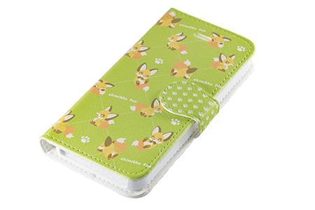 キツネスマートフォンケース「ちみっこキツネ」手帳型(iPhone5/5s/SE用)